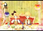 alpaca animal bird_cage blonde_hair bow chair checkered cupcake deer elbow_gloves fish food fork gumi hairclip hatsune_miku kagamine_len kagamine_rin kaito mermaid open_mouth plate polar_bear ponytail ribbon scarf toucan tree vocaloid