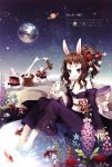 animal_ears bare_shoulders barefoot blush brown_hair bunny bunny_ears earth face feet_in_water fish flower food goldfish hair_flower hair_ornament hairpin highres japanese_clothes kimono koi long_hair mallet mochi moon moon_rabbit obi off_shoulder open_mouth original planet ponytail purple_eyes rabbit scan sitting smile snow_bunny soaking_feet solo star tearfish violet_eyes wagashi water