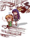 furude_rika higurashi_no_naku_koro_ni houjou_satoko long_hair maebara_keiichi pantyhose purple_hair short_hair yuro