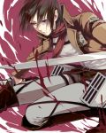 black_eyes black_hair boots jacket mikasa_ackerman noes scarf shingeki_no_kyojin short_hair thigh_strap
