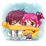 >_< 1girl asbel_lhant blue_background blush brown_hair cheria_barnes chibi couple kurimomo pink_hair scarf shared_scarf tales_of_(series) tales_of_graces