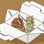 animal_ears box cake cat_ears cat_tail chibi chocolate chocolate_cake dress eating food girl_in_a_box green_dress hair_ornament in_box in_container kakushiaji minigirl original solo tail