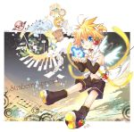 96mame angel_wings blonde_hair blue_eyes child choker food fruit highres kagamine_len kagamine_len_(append) male nail_polish solo strawberry vocaloid vocaloid_append wings