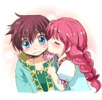 1girl asbel_lhant blue_eyes blush braid brown_hair cheek_kiss cheria_barnes child closed_eyes couple eyes_closed flower kiss kurimomo pink_hair ponytail tales_of_(series) tales_of_graces white_background young
