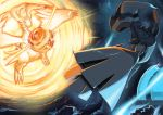 electricity fire glowing highres pokemon pokemon_(game) pokemon_bw reshiram sakigaki zekrom