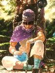 black_hair bob_(biyonbiyon) cape closed_eyes dragon_quest dragon_quest_v hat hero_(dq5) highres long_hair sleeping slime staff tree