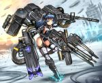 1girl black_hair blue_eyes garter_straps gia gun headphones leotard long_hair original solo thigh-highs weapon