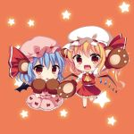 2girls :d :o animal_ears ascot bat_wings bear_ears bear_paws blonde_hair blouse blue_hair blush chibi fang flandre_scarlet gloves looking_at_viewer mob_cap multiple_girls open_mouth paw_gloves red_eyes remilia_scarlet short_hair siblings sisters skirt skirt_set smile star swami touhou vest waving wings