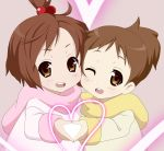 brown_hair cheek-to-cheek cheek_to_cheek hachimitsu_candy heart heart_hands heart_hands_duo high_ponytail hirasawa_ui hirasawa_yui k-on! short_hair siblings sisters wink young yuri