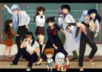 5girls animal_ears arms_behind_back brown_eyes brown_hair carrying character_request contemporary english higurashi_kagome inuyasha inuyasha_(character) kagura_(inuyasha) kanna_(inuyasha) kirara_(inuyasha) kouga labcoat long_hair miroku multiple_boys multiple_girls one_side_up pointy_ears princess_carry rin_(inuyasha) sango school_uniform sesshoumaru shippou tennen_shiori white_hair wolf_ears