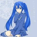 bad_id blue_eyes blue_hair blue_legwear blue_thighhighs imaichi_moenai_ko kobe_shimbun kobe_shinbun long_hair naru_(andante) school_uniform skirt sleeves_past_wrists solo thigh-highs thighhighs twintails zettai_ryouiki