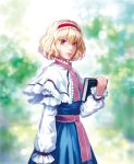 1girl alice_margatroid ascot blonde_hair blue_eyes book capelet hairband highres holding holding_book lips long_sleeves looking_at_viewer matsuda_(matsukichi) short_hair solo touhou