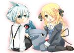 beldum black_legwear blonde_hair blue_eyes couple dumbber fukamaru gible highres long_hair pantyhose pokemon pokemon_(game) shirona_(pokemon) short_hair silver_hair tsuwabuki_daigo yellow_eyes young