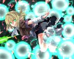 1girl arm_warmers blonde_hair danmaku glowing glowing_eyes green_eyes hinomoto_madoka leg_warmers lights looking_at_viewer mizuhashi_parsee pointy_ears sash scarf shirt short_sleeves skirt solo touhou