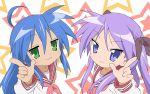 hiiragi_kagami izumi_konata lucky_star pointing seifuku stars