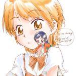 blue_hair bow bowtie chibi english futari_wa_precure futari_wa_pretty_cure long_hair minigirl misumi_nagisa orange_eyes orange_hair precure pretty_cure school_uniform short_hair yukishiro_honoka