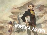 ascot bare_shoulders black_hair eureka_7 eureka_seven eureka_seven_(series) from_behind grey_hair hand_on_hip hips holland_novak short_hair talho_yuuki zoff_(daria)