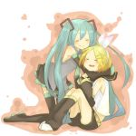 aqua_hair arm_warmers bare_shoulders black_legwear black_thighhighs blonde_hair blush chip-chop closed_eyes detached_sleeves eyes_closed hair_ornament hair_ribbon hairclip hatsune_miku hug kagamine_rin kneeling leg_warmers long_hair multiple_girls necktie open_mouth ribbon sailor_collar short_hair shorts sitting skirt smile thigh-highs thighhighs twintails very_long_hair vocaloid