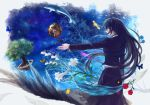 bird black_hair blue blue_eyes blue_rose butterfly dolphin feathers fish flower from_behind globe lily_(flower) long_hair original outstretched_arm pink_rose planet profile robinexile rose solo star_(sky) surreal tree very_long_hair