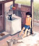 bucket casual cat door doorknob kimura_(pixiv178485) no_socks original ponytail shadow sitting slippers smile solo stool sunlight sunshine washing_machine