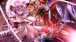 ascot bat_wings beckon beckoning chain chains flandre_scarlet from_below full_moon glowing hat kimitoshiin laevatein lavender_hair mary_janes moon multiple_girls orange_eyes outstretched_arm outstretched_hand remilia_scarlet shoes short_hair siblings side_ponytail sisters spear_the_gungnir touhou wings