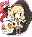 blonde_hair boots charlotte_(madoka_magica) chibi detached_sleeves dress drill_hair hat long_hair mahou_shoujo_madoka_magica rino_nori smile thigh-highs thighhighs tomoe_mami