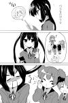 blush blush_stickers cellphone comic gift hirasawa_ui hirasawa_yui hoppege k-on! kotobuki_tsumugi long_hair monochrome nakano_azusa o_o phone school_uniform short_hair skirt suzuki_jun tainaka_ritsu translated translation_request twintails