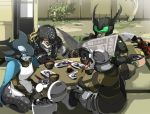 apron blue_eyes chopsticks dinner gamel green_eyes jpeg_artifacts kamen_rider kamen_rider_ooo_(series) kazari mezul monster o_medal orca uva zinger_(excess_m) zzinzinz