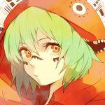 bad_id face green_eyes green_hair gumi hoodie marui_happa matryoshka_(vocaloid) multicolored_eyes orange_eyes portrait short_hair solo vocaloid