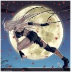 athletic elbow_gloves fingerless_gloves floating_hair full_moon gloves long_hair moon net night night_sky original petals profile qinni running shorts sky solo sports_bra star_(sky) starry_sky very_long_hair white_hair