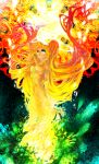 alternate_color bad_id blonde_hair chino_machiko detached_sleeves dress gradient_hair green_eyes hatsune_miku highres long_hair multicolored_hair red_hair redhead solo twintails very_long_hair vocaloid
