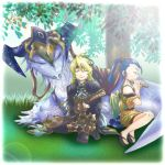 atoripy bad_id blonde_hair blue_hair closed_eyes dragon eyes_closed female flail_(suikoden) flute gensou_suikoden gensou_suikoden_v glasses grass instrument kyle long_hair lowres male military_uniform ponytail rania sandals sitting smile suikoden suikoden_v tori_(nanapy610) uniform