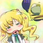 blonde_hair blush chibi chopsticks cordelia_glauca drool flower hair_flower hair_ornament hairu hungry imagining long_hair lowres moon open_mouth prison_cell rice saliva sparkle square_eyes takuan tantei_opera_milky_holmes
