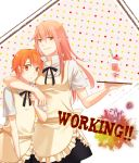 apron couple food hand_on_shoulder inami_mahiru orange_eyes orange_hair short_hair takanashi_kotori takanashi_souta trap tray waitress working!!