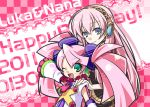 aqua_hair blue_eyes detached_sleeves haruka_nana headphones megurine_luka multiple_girls negi_(ulogbe) pink_hair smile twintails ulogbe utau vocaloid