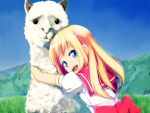 blonde_hair blue_eyes hug llama lo_(rogu_ryouiki) original school_uniform serafuku smile solo