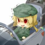 1girl alternate_costume blonde_hair blush breath chibi cockpit eiri_(eirri) empty_eyes flandre_scarlet hat no_nose open_mouth pilot red_eyes reiuji_utsuho reiuji_utsuho_(bird) short_hair side_ponytail sitting solo touhou trembling wings yamaha