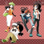 bel_(pokemon) bel_(pokemon)_(cosplay) bell_(pokemon) blue_eyes brown_hair cheren_(pokemon) cheren_(pokemon)_(cosplay) cosplay glasses hat highres n_(pokemon) n_(pokemon)_(cosplay) orange_legwear pantyhose poke_ball pokemon pokemon_(game) pokemon_black_and_white pokemon_bw ponytail rkp touko_(pokemon) touya_(pokemon)