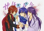 3boys ? akaito blue_eyes blue_hair highres kaito kamui_gakupo long_hair male nail_polish ponytail purple_eyes purple_hair red_eyes redhead scarf short_hair sweatdrop vocaloid