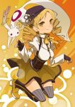 blonde_hair boots drill_hair hair_ornament hat kyubey kyuubee magical_girl mahou_shoujo_madoka_magica puffy_sleeves tears thigh-highs thighhighs tomoe_mami ukke yellow_eyes zettai_ryouiki