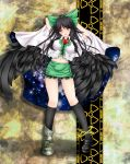 adapted_costume arms_behind_head bad_id black_hair black_wings blush bow breasts cape hair_bow highres large_breasts large_wings long_hair midriff navel nekokotei open_mouth red_eyes reiuji_utsuho smile solo third_eye touhou wings