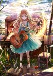 akabane_(zebrasmise) akebane ankle_cuffs ankle_lace-up apple barefoot blonde_hair blue_eyes braid chair choker collarbone cross-laced_footwear cuffs dagger dress flower food fruit guitar highres instrument light_smile long_hair original piano pigeon-toed side_braid solo star_print wavy_hair weapon wine