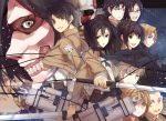 annie_leonhardt armin_arlert armored_titan belt bertholt_fubar black_eyes black_hair blonde_hair brown_hair colossal_titan conny_springer eren_jaeger giant glasses hanji_zoe highres jacket jean_kirchstein levi_(shingeki_no_kyojin) mikasa_ackerman monster multiple_boys multiple_girls ponytail rain_lan reiner_braun rogue_titan sasha_browse scarf shingeki_no_kyojin short_hair sword three-dimensional_maneuver_gear weapon wire