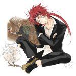 blue_eyes chocobo final_fantasy final_fantasy_vii long_hair male minimized multiple_boys red_hair redhead reno rude toujou_sakana