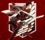 1boy acaallodola black_eyes black_hair blood boots dual_wielding emblem jacket levi_(shingeki_no_kyojin) shingeki_no_kyojin short_hair solo sword thigh_strap three-dimensional_maneuver_gear weapon