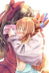 bare_shoulders blush bow detached_sleeves hair_bow hakurei_reimu highres horns hug ibuki_suika japanese_clothes miko multiple_girls oni profile rough surprised touhou wide_sleeves yuya_(night_lily)