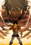 1boy belt black_hair blood boots eren_jaeger jacket muscle nori_(pixiv) rogue_titan shingeki_no_kyojin short_hair spoilers steam teeth thigh_strap yellow_eyes