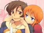 1girl amber_eyes annoyed banagher_links blue_eyes brown_eyes brown_hair crossover elpeo_puru fingersmile forced_smile gundam gundam_unicorn gundam_zz jacket mouth_pull orange_hair puru_two sweat ufuto yellow_eyes