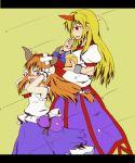 blonde_hair blush bow cuffs gourd hair_bow horn horns hoshiguma_yuugi ibuki_suika kuroi-neko long_hair multiple_girls oni orange_hair setsubun touhou