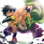 1boy abs black_eyes black_hair bracer broly_(dragon_ball_super) bulge clothes_around_waist dragon_ball dragon_ball_super dragon_ball_super_broly fighting highres large_pectorals legs_apart male_focus medium_hair mouth_hold muscular muscular_male navel nipples pants purple_pants scar scar_on_chest shirt shirt_around_waist shirtless skin_tight solo spiky_hair stomach tarutobi tight tight_pants